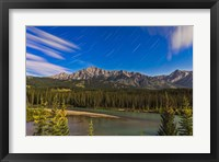 Framed Star trails above the Front Ranges in Banff National Park, Alberta, Canada