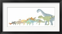 Framed Various Dinosaurs and their Comparative Sizes
