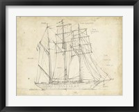 Sailboat Blueprint I Framed Print