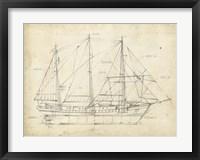 Sailboat Blueprint II Framed Print