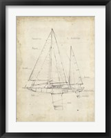 Sailboat Blueprint IV Framed Print