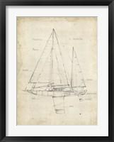 Sailboat Blueprint IV Framed Print
