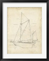 Sailboat Blueprint V Framed Print