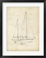 Sailboat Blueprint VI Framed Print
