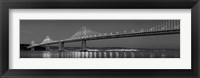 Framed Bay Bridge at dusk, San Francisco, California