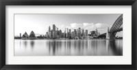 Framed Sydney Harbour Bridge and skylines at dusk, Sydney, New South Wales, Australia