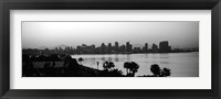 Framed Silhouette of buildings at the waterfront, San Diego, San Diego Bay, California