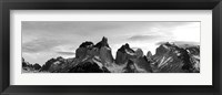 Framed Snowcapped mountain range, Paine Massif, Torres del Paine National Park, Patagonia, Chile