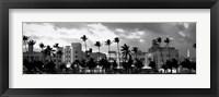 Framed Buildings Lit Up At Dusk, Ocean Drive, Miami Beach, Florida