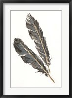 Gold Feathers III on White Framed Print