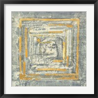 Gold Tapestry I Gold and White Framed Print