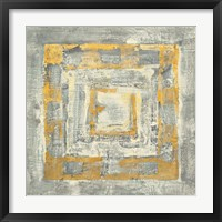 Gold Tapestry II Gold and White Framed Print