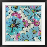 Graphic Pink and Blue Floral I Framed Print