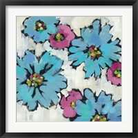 Graphic Pink and Blue Floral III Framed Print