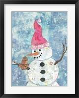 Framed Snowman with Owl