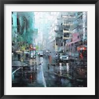 Framed Montreal Turquoise Rain