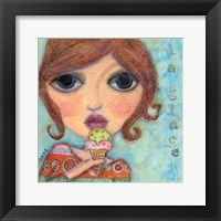 Framed Big Eyed Girl Ice Cream Cone