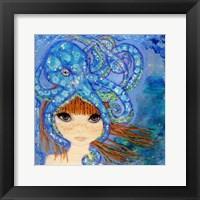 Framed Big Eyed Girl Ocean Blue