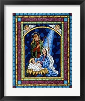 Framed Stained Glass Nativity