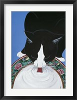 Framed Lapping Milk From An Oriental Plate