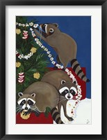 Framed Christmas Raccoons