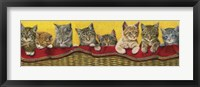 Framed Eight Kittens In Basket