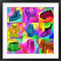 Framed Pop Art Monopoly Pieces