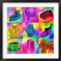 Framed Pop Art Monopoly Pieces