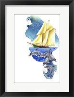 Framed Sailboat Dolphin Wave