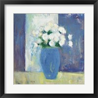 Framed Ranunculi in Blue Vase White Flowers