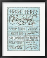 Framed Ingredients For Life I Blue