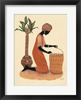 Framed Kneeling Right Weaving Basket - Orange Dress