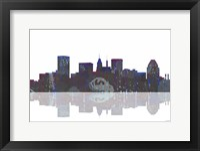 Framed Baltimore Maryland Skyline BW 1