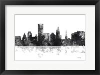 Framed Providence Rhode Island Skyline BG 1