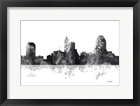 Framed Raleigh North Carolina Skyline BG 1