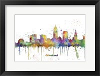 Framed Cleveland Ohio Skyline Multi Colored 1