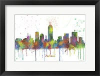 Framed Indianapolis Indiana Skyline Multi Colored 1