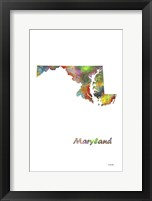 Framed Maryland State Map 1