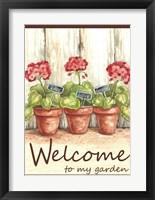 Framed Geranium Welcome To My Garden