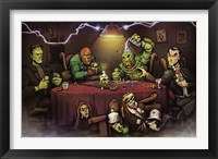 Framed Monsters Playing Poker