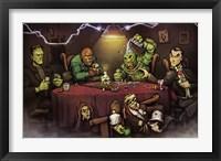 Framed Monsters Playing Poker