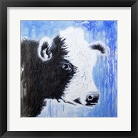 Framed Black and White Cow