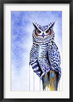 Framed Great Horned Owl In Blue