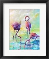 Framed Flamingo Family 1