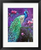 Framed Botanical Peacock 1