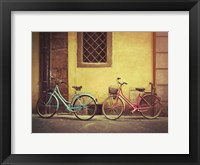 Framed Blue and Pink Bikes