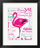 Framed Wordy Flamingo