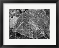 Framed Paris Map BW