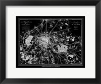 Framed Paris Map 2 BW