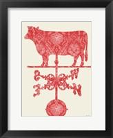 Framed Weather Vane Cow